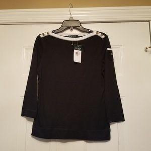 Lauren Black petite medium 3/4 length sleeves new